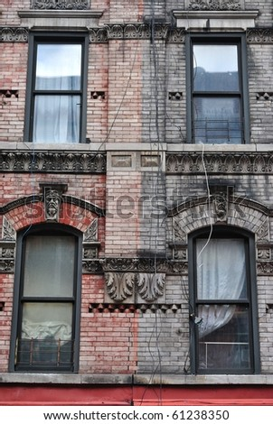 Red and black building. - stock photo