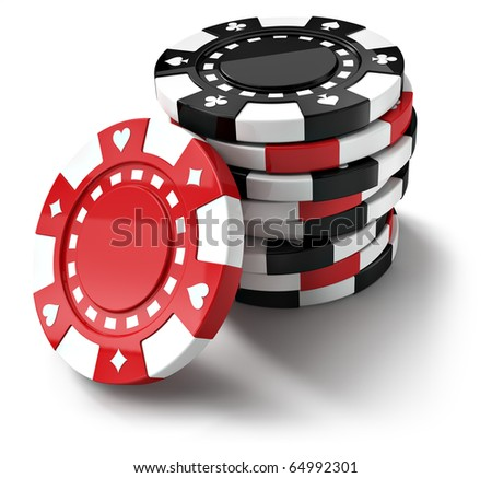 Red and black casino tokens, isolated on white background (3d render) - stock photo