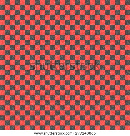 red and black checkered with mosaic cells over it, abstract background - stock photo
