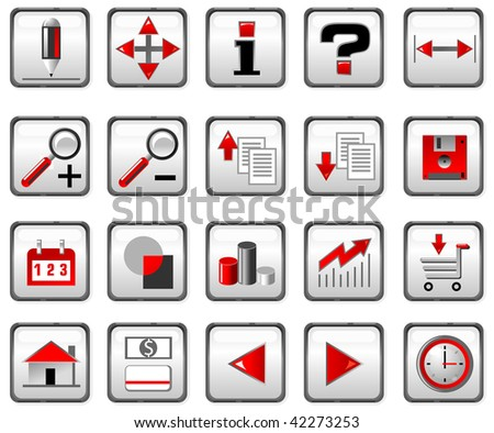 Red and black computer icons. - stock photo
