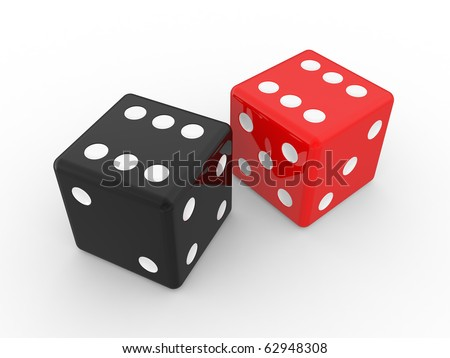 red and black dices, isolated objects on a white background - stock photo