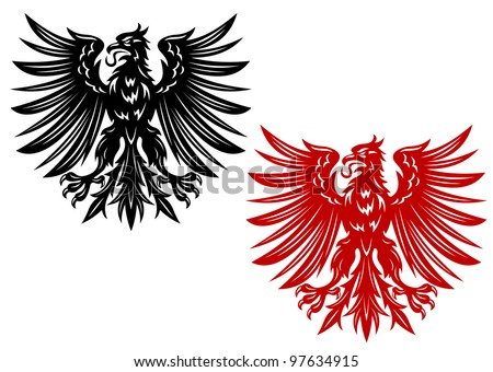 Red and black eagles for heraldry or tattoo design, such  a logo. Vector version also available in gallery - stock photo