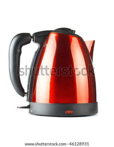 red and black electrical tea kettle isolated on white - stock photo
