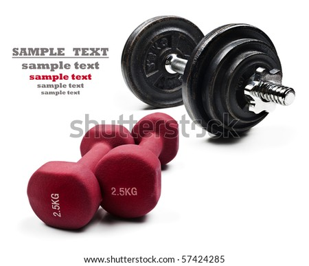 Red and black exercising dumbbells on a pure white background with space for text - stock photo