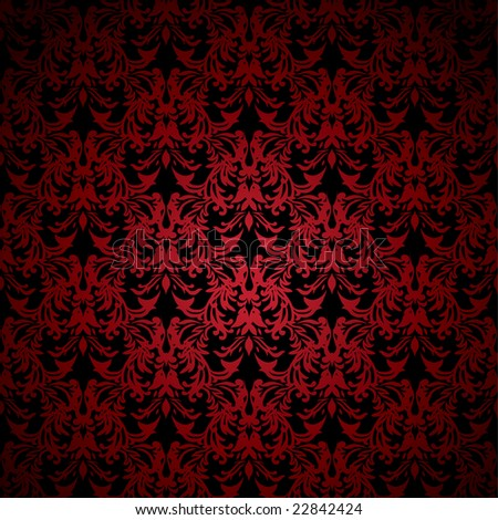 Red and black floral inspired background that seamlessly tiles - stock photo