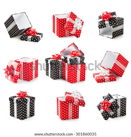 Red and black gift boxes with white dots and ribbon bow collection. Holiday present. Objects isolated on white background