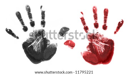 red and black hand imprints - stock photo