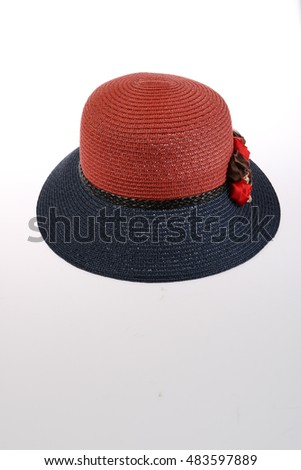 Red and black  hat isolated white background