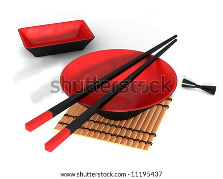 Red and black Japanese bowl and chopstick - stock photo