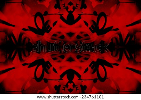 Red and black kaleidoscope graffiti background - stock photo