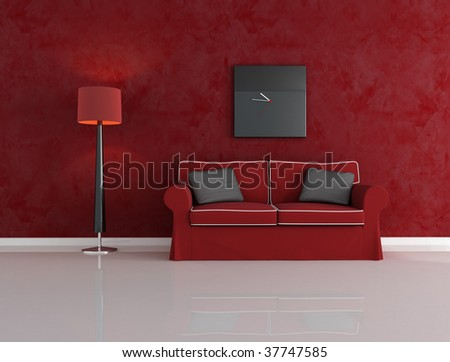 red and black living room with velvet couch - rendering