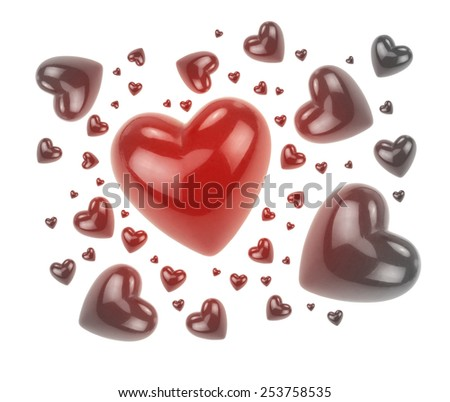 Red and black love hearts isolated on white background. - stock photo