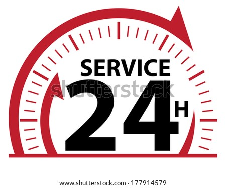Red and Black Service 24H Icon, Badge, Label or Sticker for Customer Service, Support or CRM Concept Isolated on White Background  - stock photo