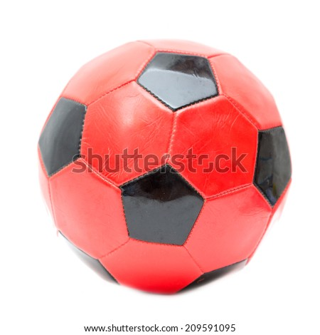red and black soccer ball on a white background