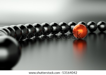 Red and black Spheres on background - stock photo