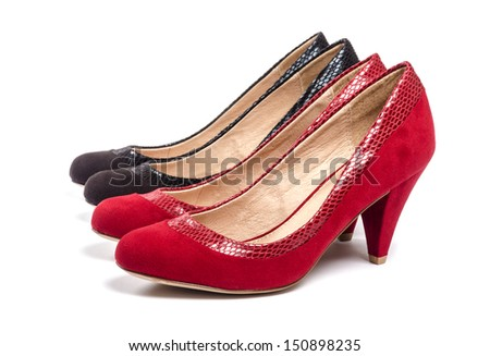 Red and Black Suede Pumps Isolated on White