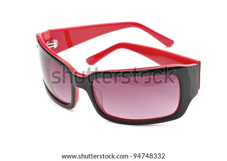 red and black sunglasses isolated on white - stock photo
