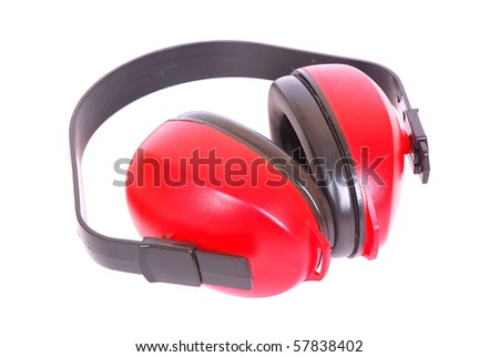 Red and black used ear muff to protect workers' ears from the noise. Image isolated on white studio background.