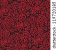 Red and Black Victorian Wallpaper Background - stock photo