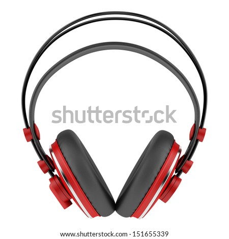 red and black wireless headphones isolated on white background - stock photo
