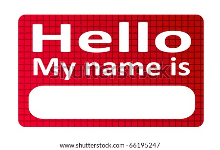 Red and blank name tag sticker over white background - stock photo