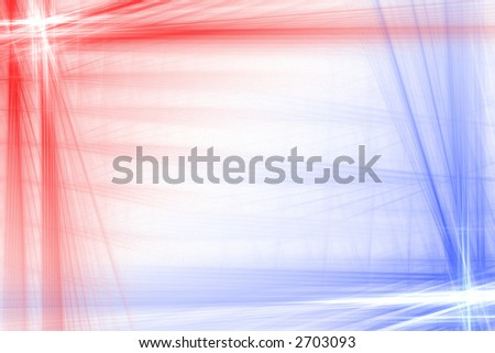 Red and blue abstract flash frame background over white with copyspace - stock photo