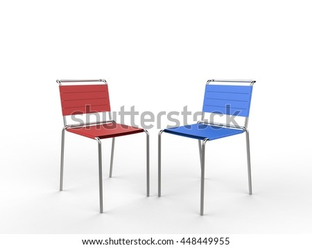 Red and blue aluminium chairs with cloth straps - on white background - 3D render