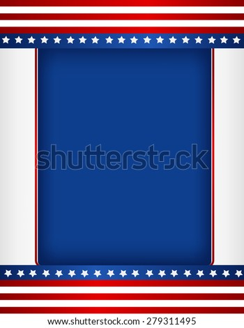 Red and blue American flag border / frame - stock photo