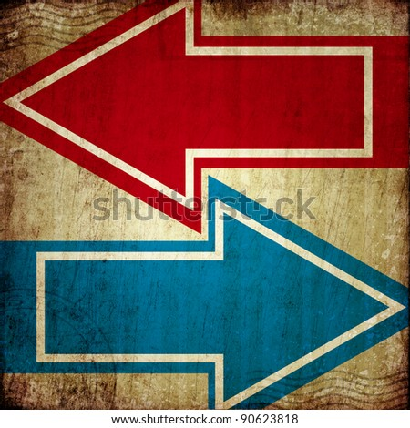 red and blue arrows on grunge background - stock photo
