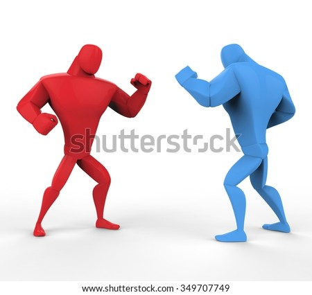Red and blue boxers in a fighting stance. - stock photo