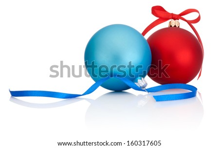Red and Blue Christmas Ball with ribbon bow Isolated on white background - stock photo