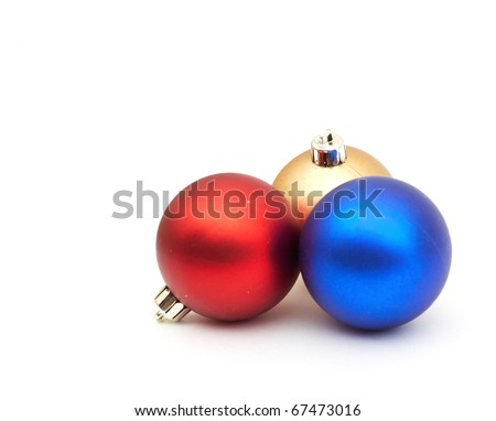 red and blue christmas blubs on white background