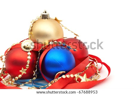 red and blue christmas blubs on white background - stock photo