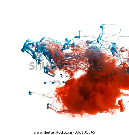 Red and blue color ink paint abstract pattern in water liquid - stock photo