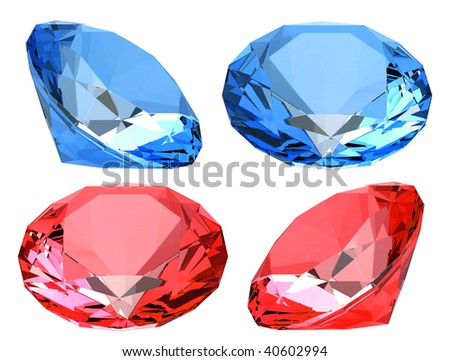 red and blue crystals isolated on white - stock photo