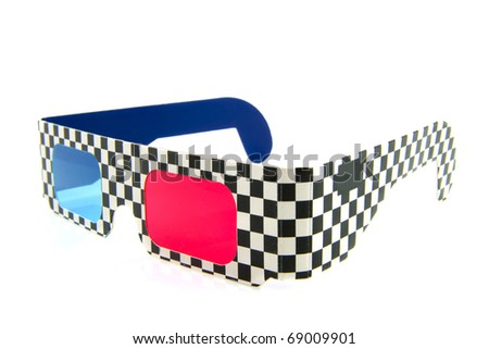 Red and blue 3d glasses isolated over white - stock photo