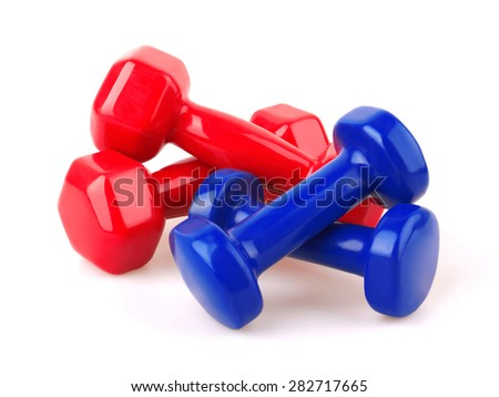 Red and blue dumbbells, Isolated on white background - stock photo