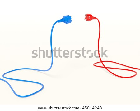 red and blue  electric plugs - stock photo