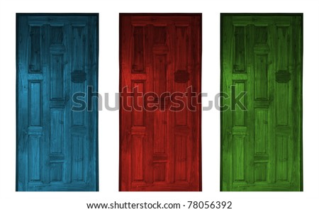 red and blue elegant entrance door isolated on white - rendering - stock photo