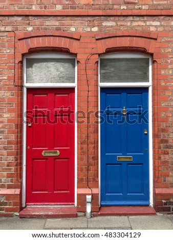 Red and Blue English Doors