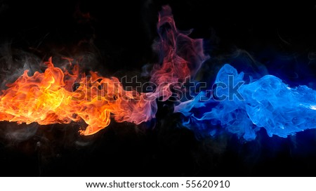 Red and blue fire - stock photo