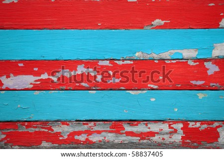 red and blue grunge wood - stock photo