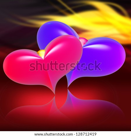 Red and blue hearts against fire with reflection - stock photo