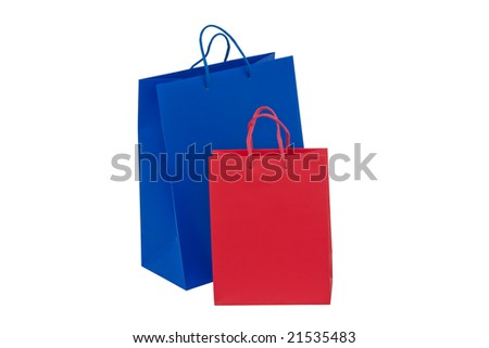 red and blue holidays paper-bags for packing presents isolated on white - stock photo