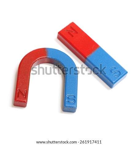 Red and Blue Horseshoe Magnet Isolated on White Background - stock photo