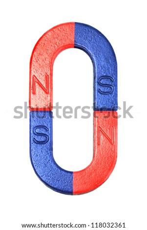 Red and Blue Horseshoe Magnets on White Background - stock photo