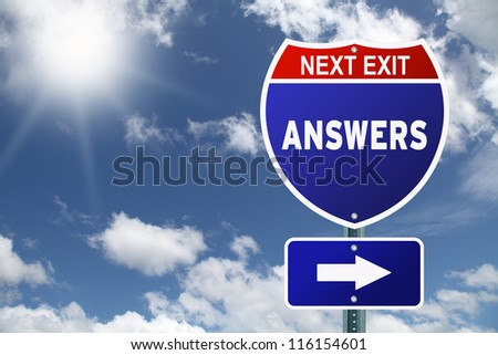 Red and blue interstate road sign Next Exit Answers - stock photo