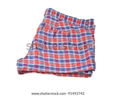 red and blue  ladies shorts - stock photo
