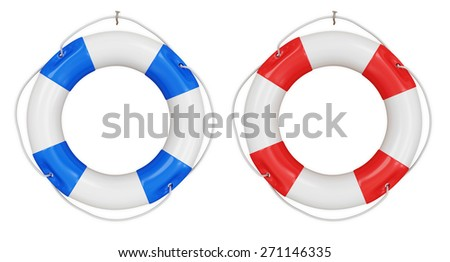 Red and Blue Lifebuoy isolated on white background - stock photo