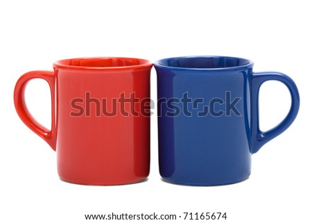 red and blue mug on a white background - stock photo